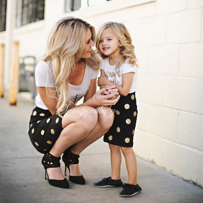Mother and Daughter Clothes Outfits Mum Mom and Daughter Dress Two Pieces Set Fa