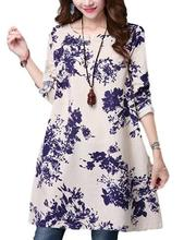 Yfashion Women Retro Style Long Sleeve Casual Dress Cotton Linen Round Collar