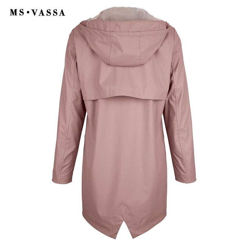 MS VASSA gabardina para mujer 2018 nuevo abrigo para mujer capa de película a prueba de lluvia cuello vuelto con capucha plus tamaño 5XL 6XL-in Zanja from Ropa de mujer    3