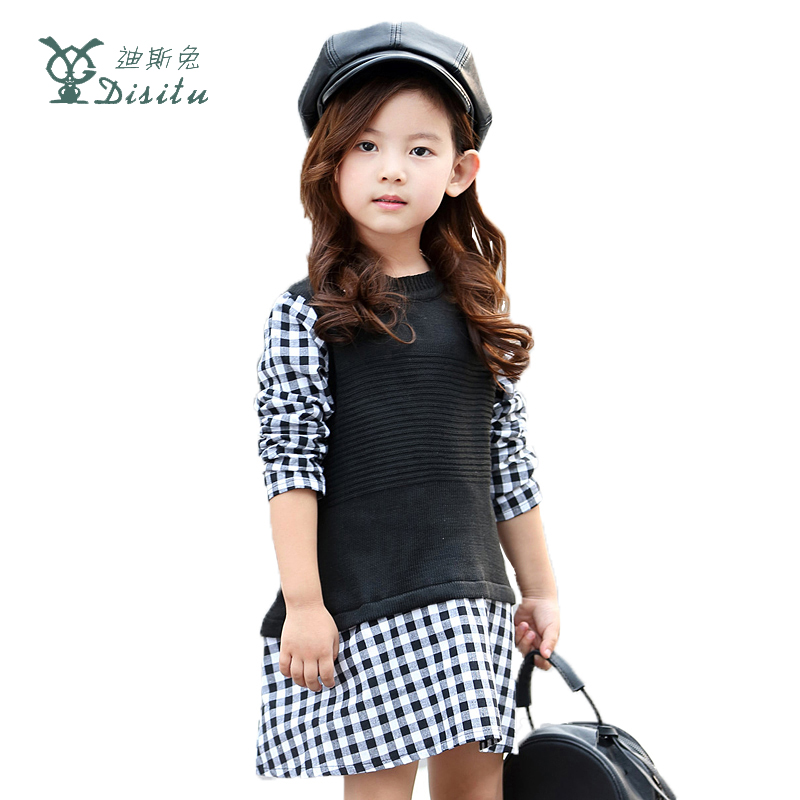 DISITU Brand Girls Dress 2017 New Fashion Plaid Kids Dress Children Long Sleeve Cotton Baby Girl Party Dresses For Kids Clothes ttlife mini in ear wireless bluetooth v4 1 earphone stereo invisible car headset noise reduction with hd mic for iphone xiaomi