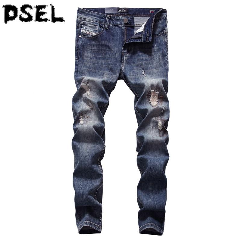 Summer Style Fashion Men Jeans Blue Color Denim Stretch Stripe Jeans Mens Pants DSEL Brand Skinny Fit Ripped Jeans For Men patch jeans men slim skinny denim blue jeans ripped trousers famous brand dsel jeans elastic pants star mens stretch jeans w701