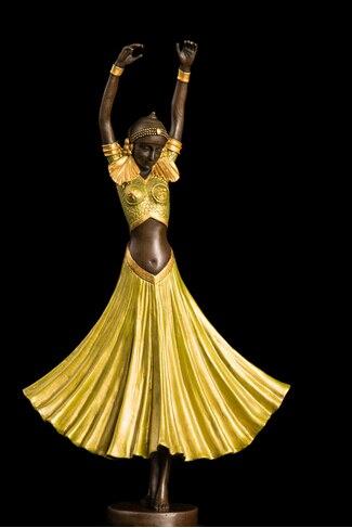 Cuivre laiton cire Bronze Art dame fille danse Sculpture Bronzen figurine mémoire pet cozinha