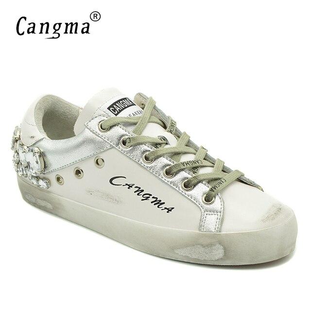 CANGMA Casual Schuhe Marke Turnschuhe Goldene Frauen Silber Diamant Weiß Wohnungen Echtem Leder Schuhe Kristall Gans Trainer
