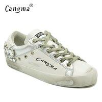 CANGMA Luxury Casual Shoes Brand Sneakers Women Silver Diamond White Flats Genuine  Leather Shoes Crystal Female d5a4ebd9e3e9
