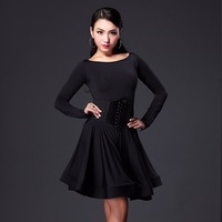 2017 Latin Dance Dress Women Ice Silk Long Sleeve High Collar Women Dance Skirt Ballroom Dancing