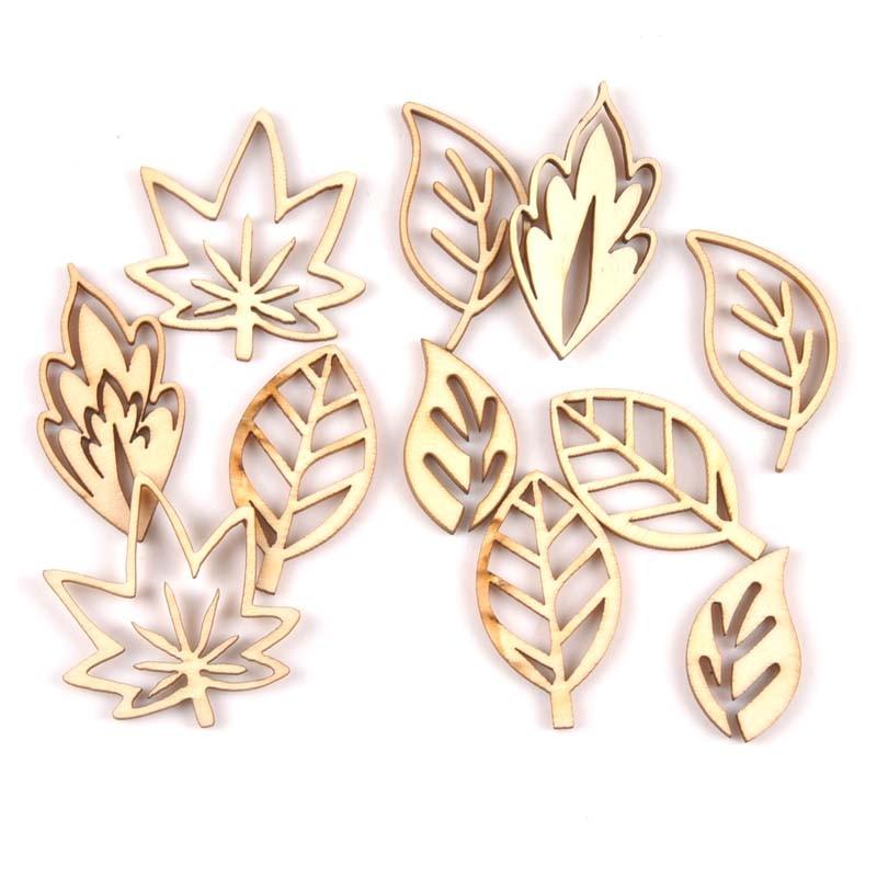 10Pcs Hollowed Leaf/leaves Natural Wooden Scrapbooking Craft For Embellishments Handmade Diy Handicraft Decor 40-50mm MT1914