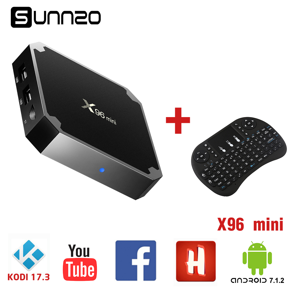 Android 7.1.2 TV BOX X96mini Amlogic S905W Quad Core 1+8GB ROM Fully Loaded Kodi 17.3 Smart netflix Set-top Box 4K+Qwerty Remote new x95 tv box amlogic s905 quad core android 5 1 1 wifi bluetooth 4 0 1g 8g set top box mini i8 remote controller keyboard