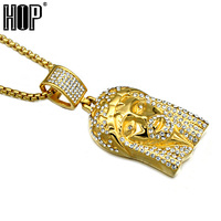 HIP Hop Classic Gold Silver Plated Stainless Steel Pave CZ Jesus Pendants Necklaces For Men Jewelry
