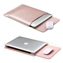 Caso Notebook Mouse Pad Bolsa Para Xiaomi Tampa Retina Pro Macbook Air 11.6 12 13 13.3 15 15.6 Moda Laptop bolsa de Couro manga