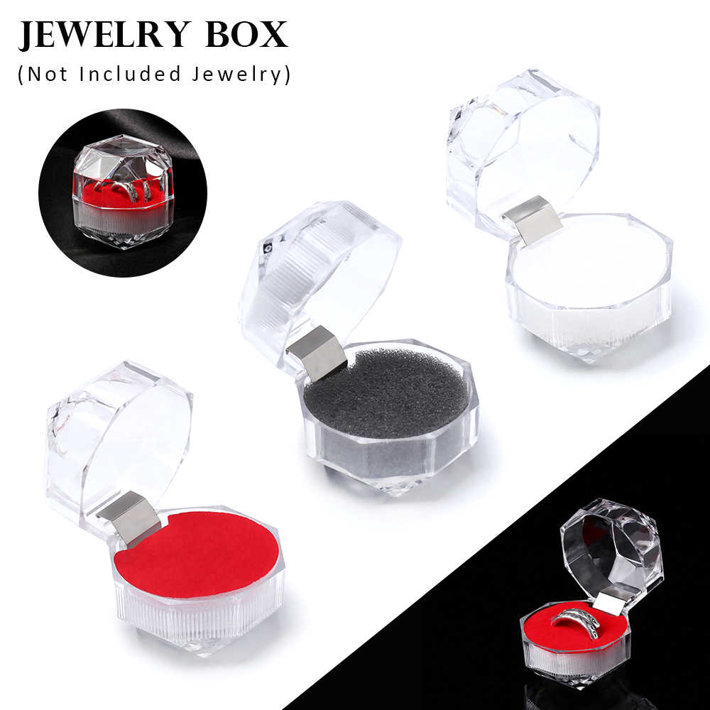 1PC przezroczyste akrylowe kryształ pudełko na pierścionek schowek na kolczyki pojemnik organizator ślub stojak na biżuterię pudełka do pakowania 3 kolory