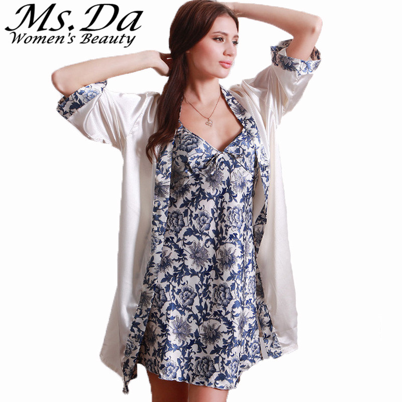 Women Nightgown Bathrobe Vintage Floral Print Pijamas Mujer 2016 Summer New Set 2 Piece Sleep Dresses Tunics Robe Femme