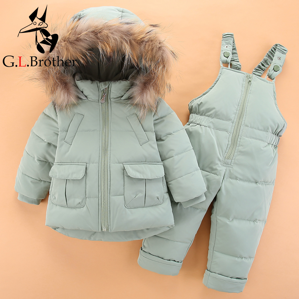 все цены на Thick Warm Kids Outwear Clothes Snow Wear Winter Infant Snowsuit Down Baby Boys Clothing Sets 2Pcs Children Girls Ski Suits Z304 онлайн