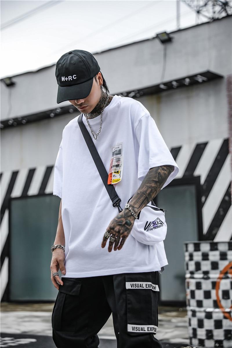 Dark Icon Side Split Fluorescent Green T-shirt with Messenger Bag Hiphop Tshirt Men Cotton Tee Shirts Streetwear Clothing 24