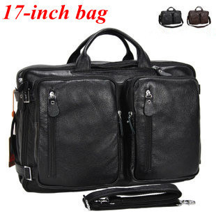 Ems Free Shipping 100genuine Leather 17 Inch Laptop Bags Large