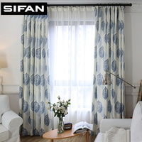 Green/Blue Leaves Window Curtains Printed Linen Curtains for Bedroom Living Room Modern Curtain Drapes