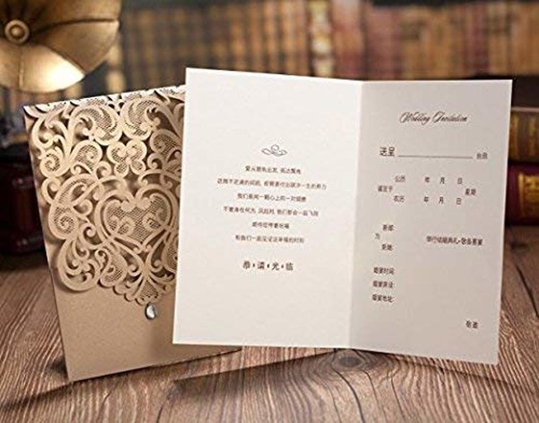 1Pcs Gold White Laser Cut Heart Wedding Invites Printable Rhinestone Birthday Invitations Card Stock for Quincenera Dinner in Cards Invitations from Home Garden