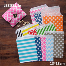 LBSISI Life 100pcs Colorful Paper Bag Cookie Candy Gift Bags High Quality Food Packing Wedding Party Favor Treat