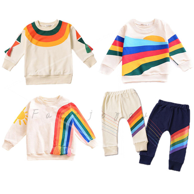 2fc350a9d Kids Clothes Set Baby Boys Long Sleeve Tops T-shirt Children Rainbow tshirt  Toddler Girls Tracksuit Fashion Clothes Pants Suit