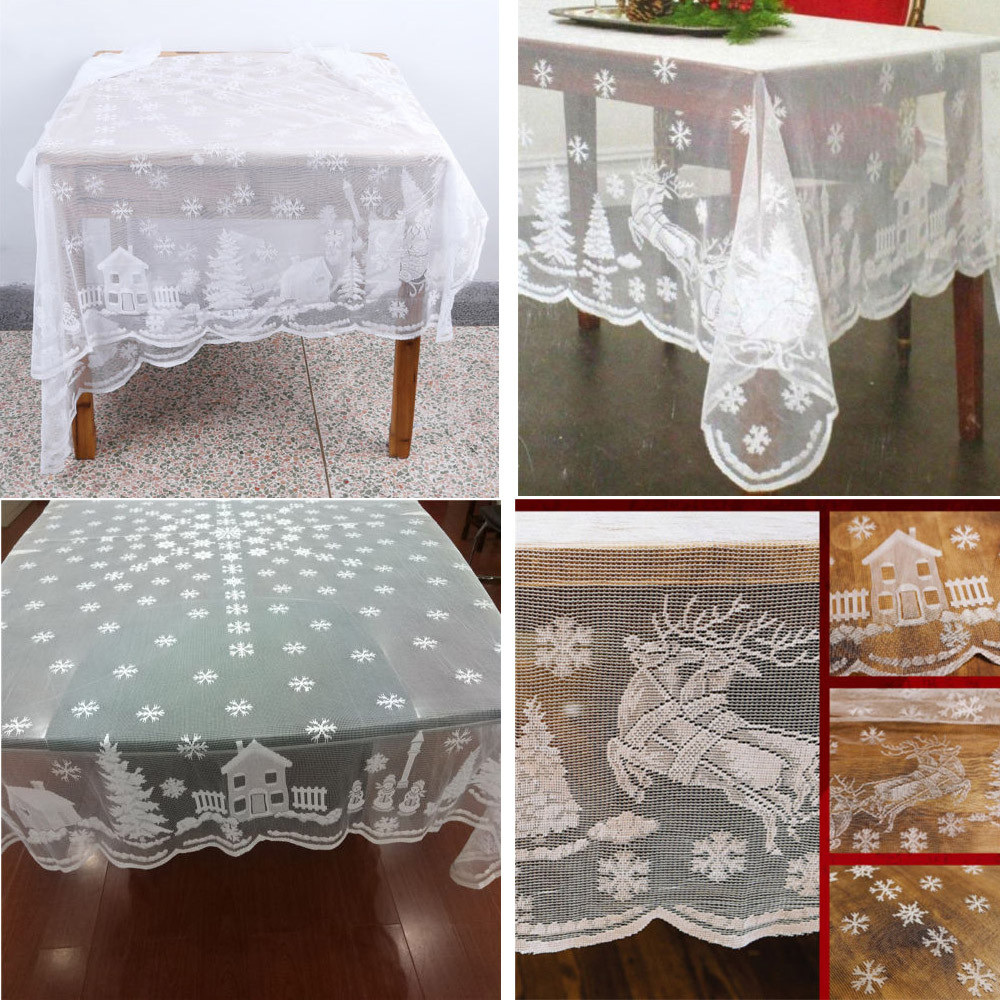 Decoration Nappe De Table Us 6 49 19 Off Rectangle White Lace Tablecloth Christmas Holiday Large Table Covers Party Dinner Nappe Wedding Banquet Home Decoration Y In
