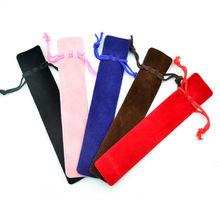 Thicker 5 Pcs Velvet Pen Pouch Holder Single Pencil Bag Pen Case With Rope For Rollerball /Fountain/Ballpoint Pen
