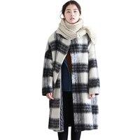 Snow Wear Winter New Plaid Woolen Coat Thick Warm Wool Coat Female Fashion Loose Coat Long Casual Cotton Coat Large Size SUN107