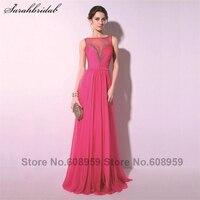 Elegant Fuchsia Sexy Sheer Neck Crystal Women Prom Dresses 2015 Fashion A Line Floor Length Party