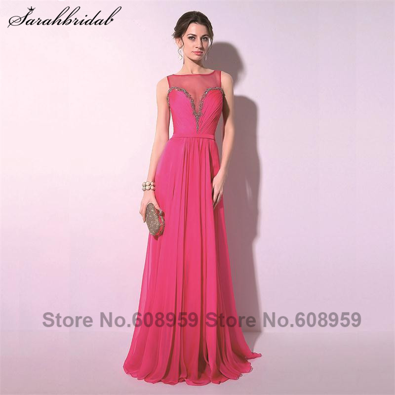 Elegant Fuchsia Sexy Sheer Neck Crystal Women Prom Dresses 2017 Fashion A-line Floor Length Party Gowns Real Picture TZ018
