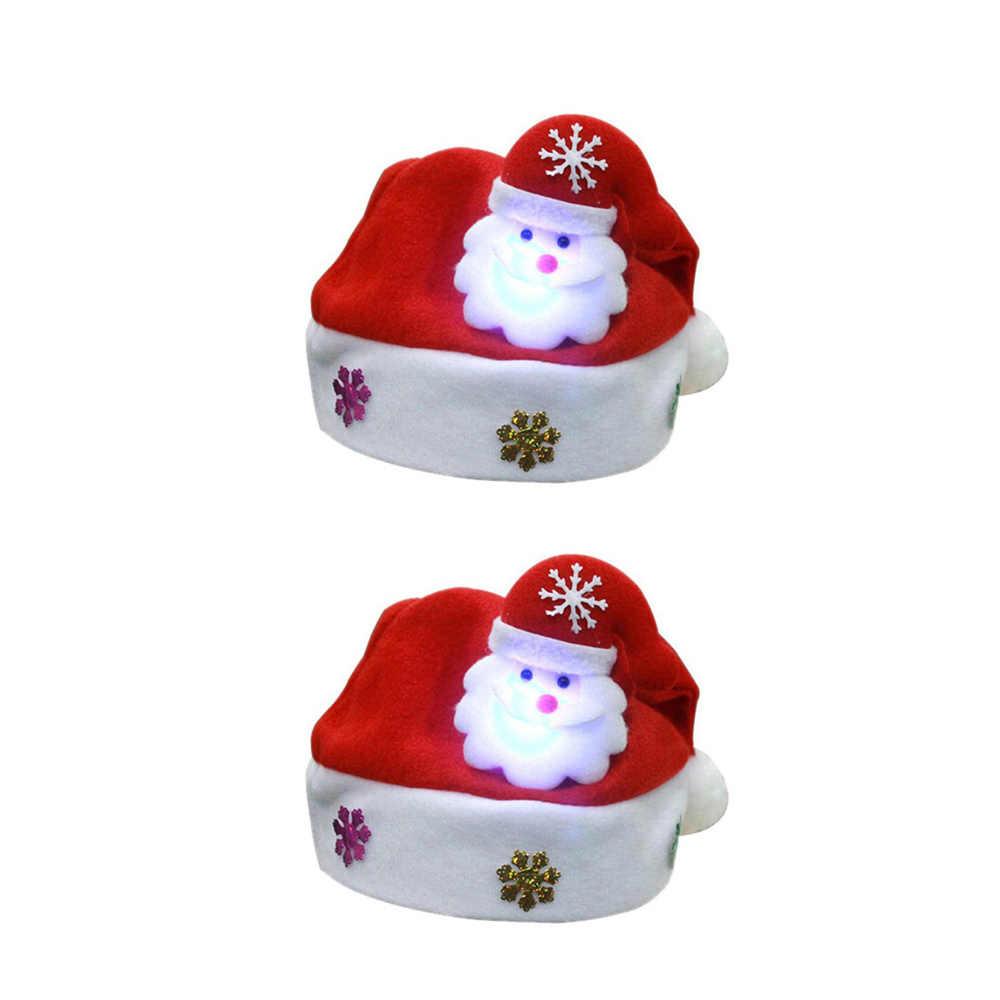 Ночь лампы освещения украшения светодио дный Рождество светящаяся шапка Санта Клаус оленя, снеговика подарки на Рождество Кепки