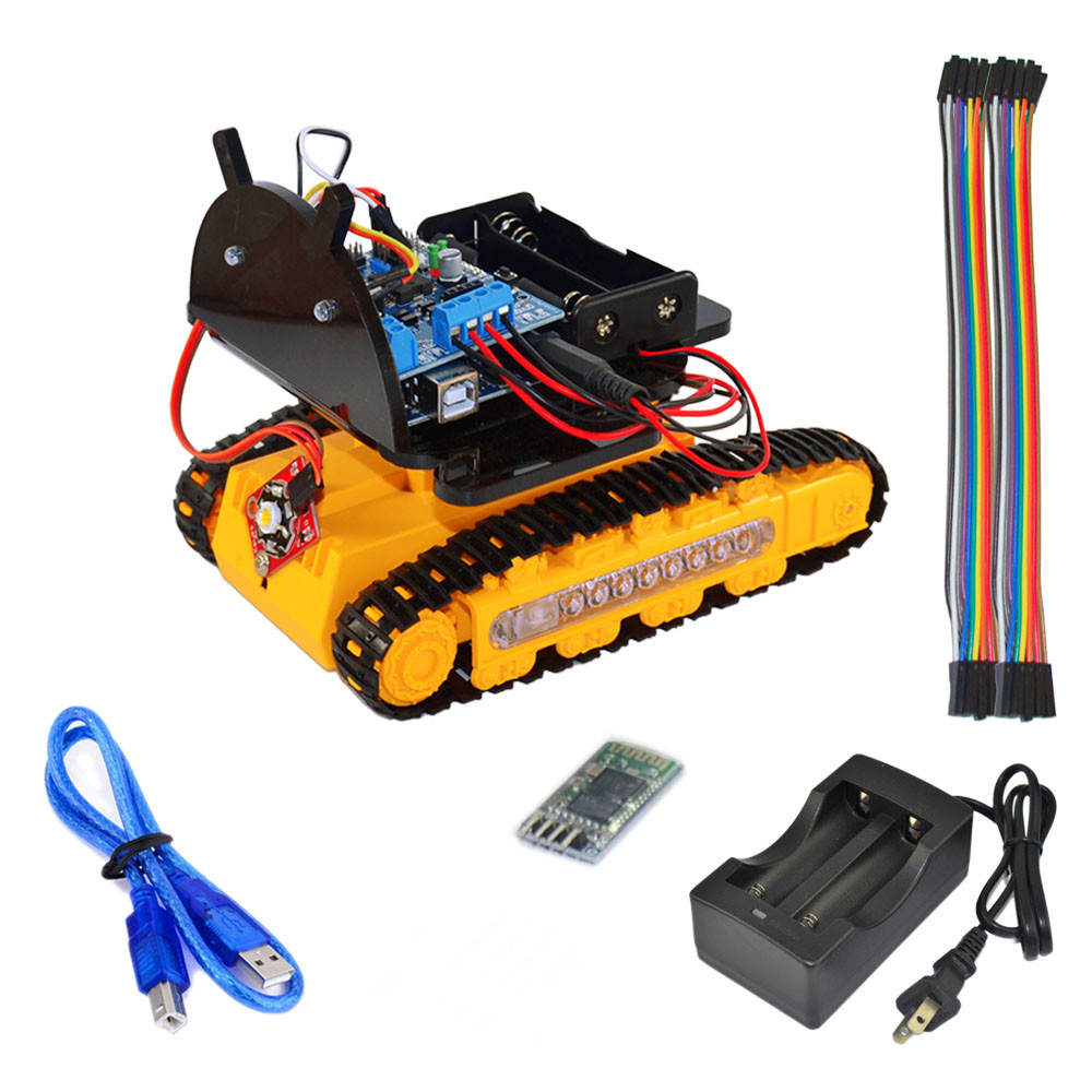 Chassis Smart Robot Bluetooth Aluminum Alloy Tank Track Caterpillar Chassis Smart Robot DIY KitTeaching equipment cheap robot tank chassis platform diy chassis smart track huanqi for arduino sinoning sn700