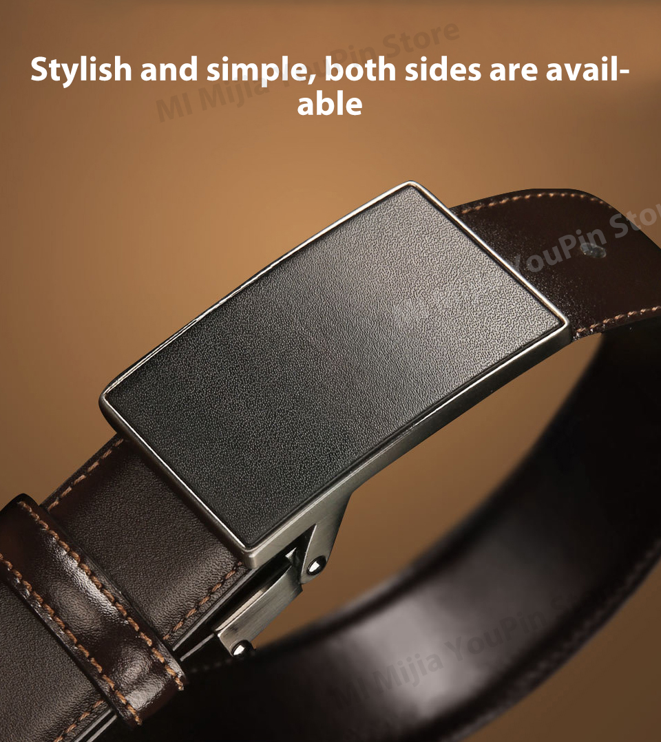 Original xiaomi mijia seven-sided Italian leather double-sided business belt 3.5cm two-color double-sided cut length (7)