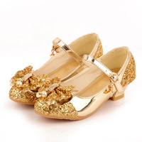 נעלי ילדי נסיכת בנות חדשות עקבים גבוהים סנדלי פנינת מודל נצנצים שמלת ריקוד לילדים חתונות מסיבת אופנה עור פאייטים