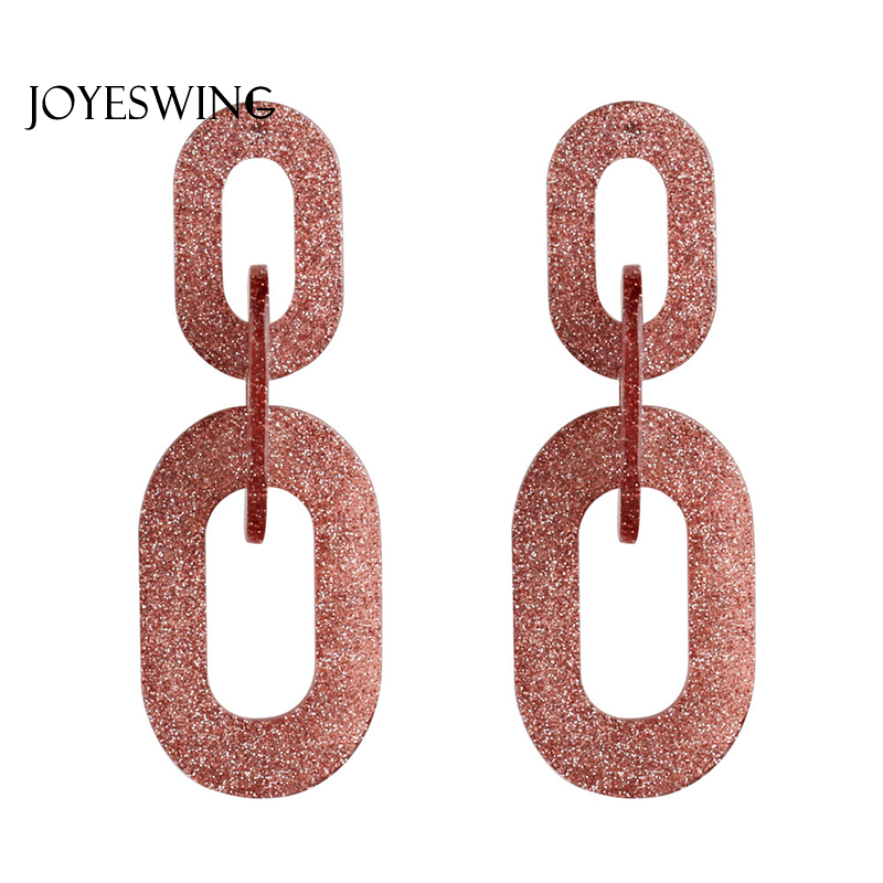 JOYESWING New Fashion Dangle Earrings for Women Charms Luxury Round Chains Acrylic Jewelry Wedding Femme Long Earrings Brincos
