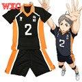 Haikyuu Sugawara Koushi Cosplay Uniforme De La Escuela Secundaria Jersey Voleibol Cosplay Número 2 Camiseta y Pantalones Karasuno WXC