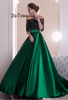 Evening Dress Long A Line Boat Neck Green Black Lace Half Sleeves Elegant Prom Dresses Custom Made Gradient Arabic Evening Gown