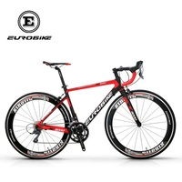 EUROBIKE 700C Road Bike Full Carbon Fiber 50cm Frame Complete Racing Bicycle 16 Speed Claris 2400