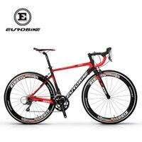 EUROBIKE 700C Road Bike Full Carbon Fiber 50cm Frame Complete Racing Bicycle 16 Speed Claris 2400