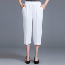 Plus Size Women Straight Pants Fashion Loose Calf Length Casual Elastic Waist Stretch 3/4 Trousers Summer Female Capris