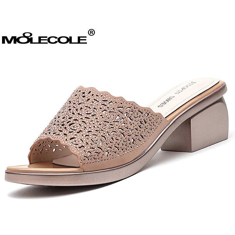 Pour chocolat 2017 Femmes 71282 Noir Chaussures Taille 40 Usa55 Pantoufles Cm Moolecole Modèle Talon Classique 5 Dame Eur35 Rivet 56 5788 8 Sandales k8wnOP0
