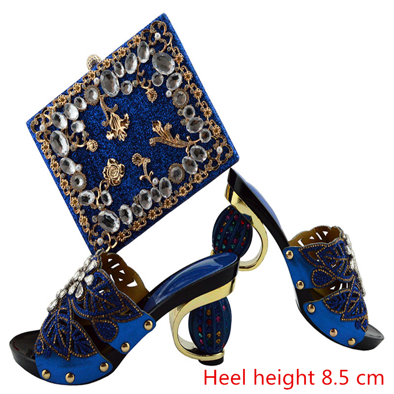 GL04  Blue High Quality Italian Shoes With Matching Bags Latest Rhinestone African Women Shoes and Bags Set For Wedding free shipping newest shoes matching bags royal blue italian designer shoes and bags ct16 06