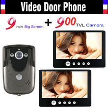 Video Intercom Door Phone System 9 Inch Monitor 900TVL HD Camera Wired Video Doorbell Kit IR Night Vision Camera 2-monitor