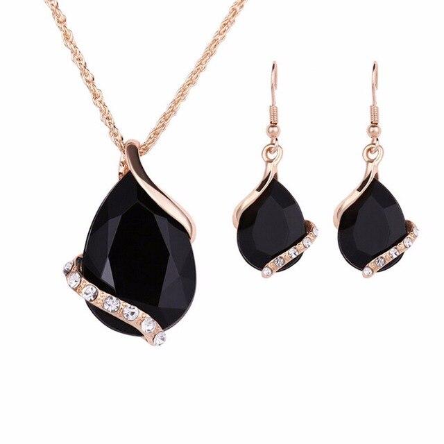 שחור קריסטל עגילי שרשראות סטי זהב צבע תכשיטי סטים לנשים גיאומטרי עיצוב חתונה תכשיטי 2 יחידות תכשיטי סטים