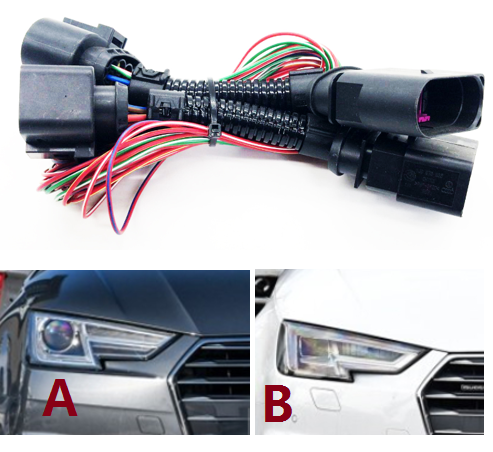 US $41 8 |HID LED Headlights Connecting wire harness matrix Headlight  Adapter For Audi A4/B9 Headlight conversion line-in Cables, Adapters &  Sockets