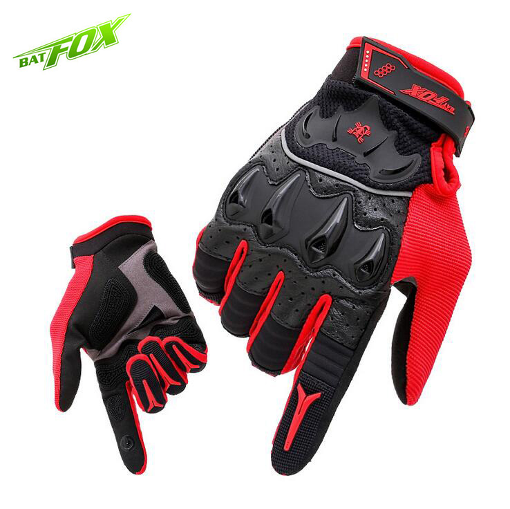 BATFOX Men Cycling Gloves Full Finger Lycra Leather Anti-Sweat Touch Screen Bicycle Gloves Outdoor Sports Motorcycle Gloves