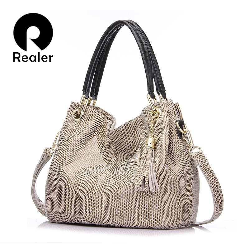 Realer woman handbags genuine leather bag female hobos shoulder crossbody bags high quality leather totes women messenger bag