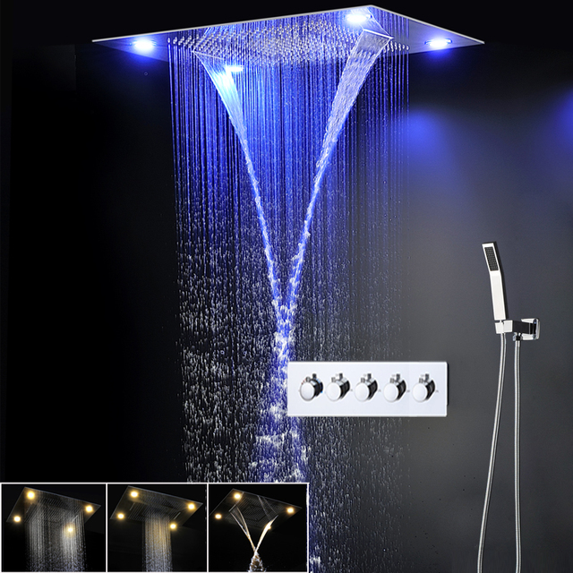Modern LED Shower Set Ceiling Large Rain Shower Head Massage Waterfall Shower Faucets Panel With