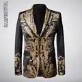 Мужской пиджак с золотым принтом VAGUELETTE, приталенный Блейзер с модным узором для сцены, элегантная одежда для сцены, 2019
