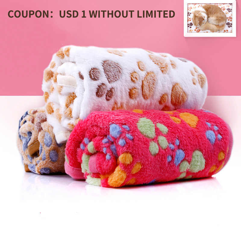 Winter Warm Pet Dog Blanket Cute Dog Bed Mat Thick Coral Fleece Soft Flannel Paw Foot Not Fade Easily Clean Pet Supplies