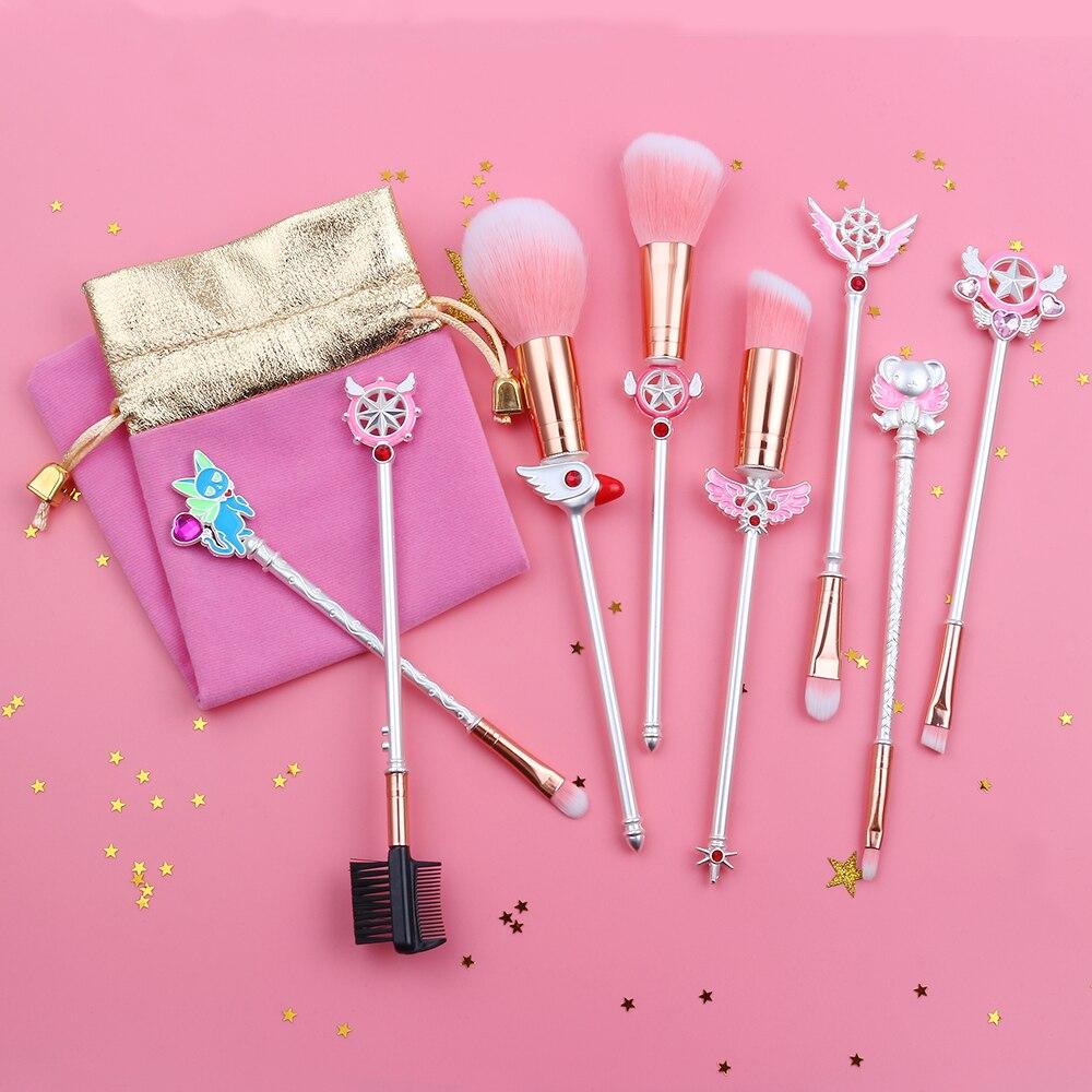 Silver Cute Anime Cardcaptor Sakura/Sailor Moon Makeup Brushes Set Cosmetic Powder Foundation Eyeshadow Brush Kits Girl Gift