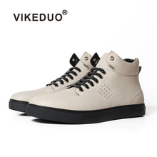 Vikeduo 2019 Handmade Male White Fashion Casual Luxury Boot Military Heel 100% Genuine Leather Ankle Snow Winter Fur Men Boots