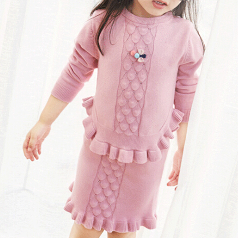 Girls Boutique Christmas Clothes Sets Knitted Sweater + Knitted Skirt Autumn Children Clothing Kids Outfits Girls Clothing Sets girls tops trousers clothes sets girl coat loose pants boutique outfits kids autumn 2017 new fashion children clothing suits